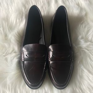 Zara Oxfords Flat Shoes Burgundy Sz 39
